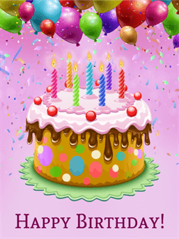 Birthday Cake And Balloons Free Download