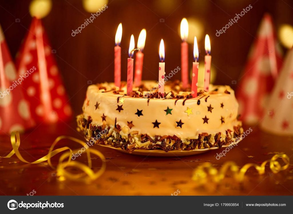 Happy birthday cake with candles.